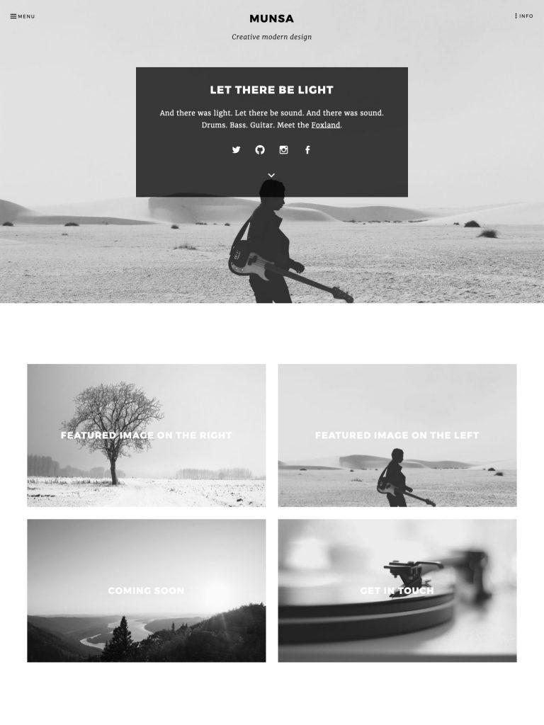 Munsa theme screenshot of the home page.